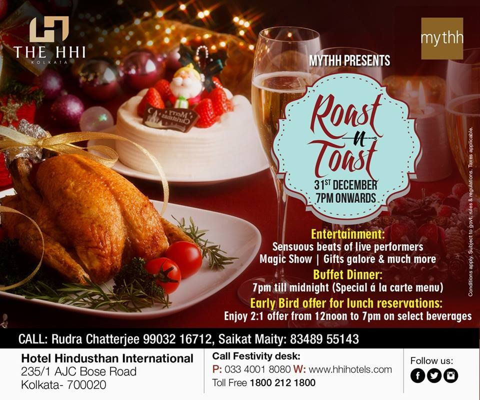 bring in the new year with mirth and frolic as mythh presents roast n toast sensuous live music magic shows and a special a la carte buffet dinner unlike