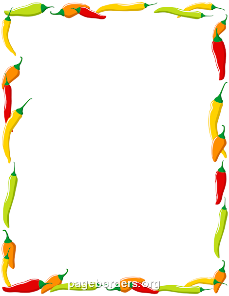 Printable chili pepper border. Use the border in Microsoft