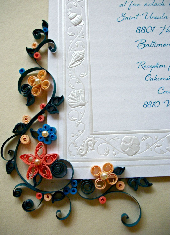 Etsy Art Quilled Framed Wedding Invitation Custom Wedding Gift Art By