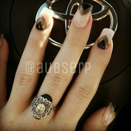 Black & gold nail design #nailart #nails - Black & Gold Nail Design #nailart #nails Aubrie's Own Pins