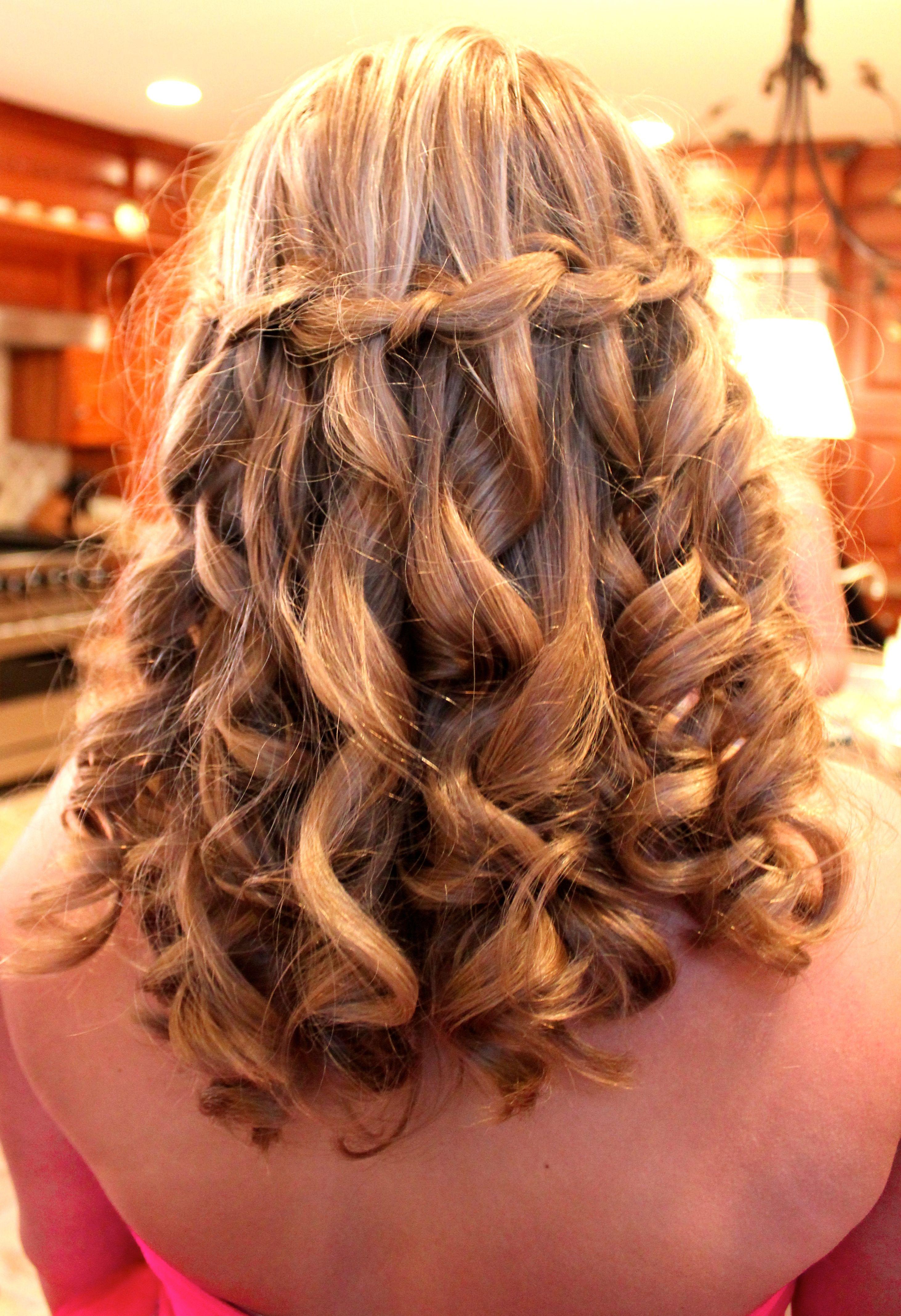 waterfall braid prom hair | Braided prom hair, Waterfall ...