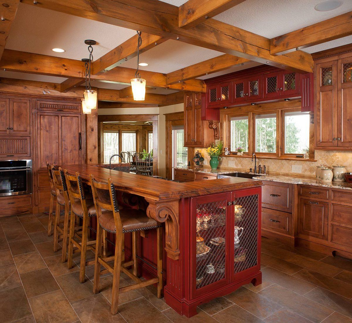 Charming Rustic Kitchen Ideas And Inspirations: Rustic Kitchen Design With Inexpensive Red Wood Kitchen