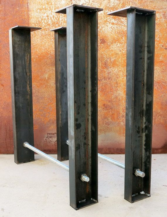 Industrial Metal Table Legs (set Of 2) Channel + Threaded Rod