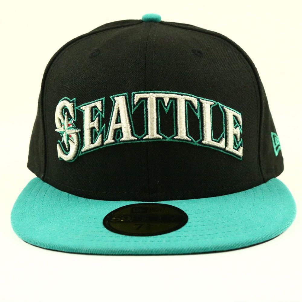 3a8b9062a00 Seattle Mariners NEW ERA Spell out MLB Baseball Hat Black Cap Size 7 5 8  Fitted  NewEra  SeattleMariners