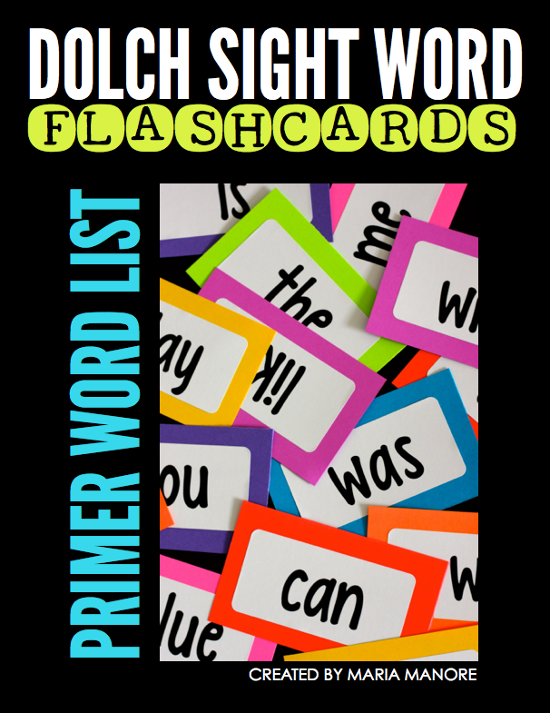 primer sight words flash cards