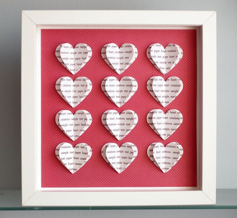 Personalised Heart Frame - 3D Hearts - Wedding Anniversary Gift ...