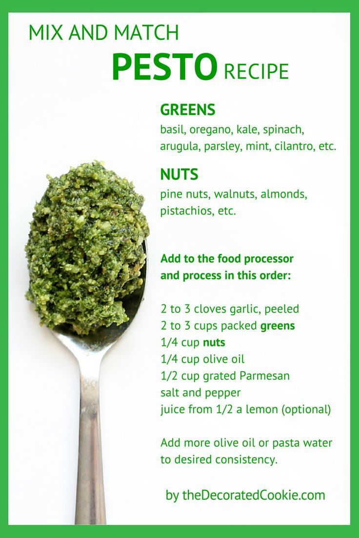 Mix and match pesto recipe -- choose your greens, choose your nuts.