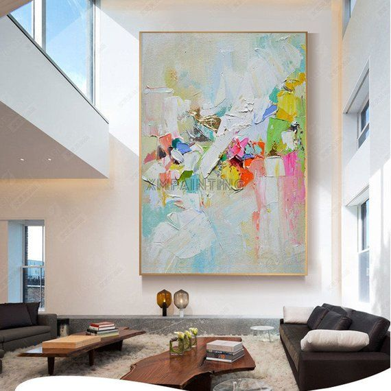 Framed Abstract knife painting canvas wall art pic