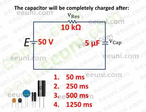 A Capacitor Of 5 Micro Farad Connects In Series With 10 Kilo Ohm Resistor Find The Time Required For Capacitor To Be Fully Charg Capacitor Resistor Connection