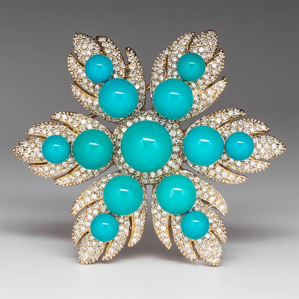 Designer LeVian Natural Turquoise Genuine Diamond Brooch Solid 14K