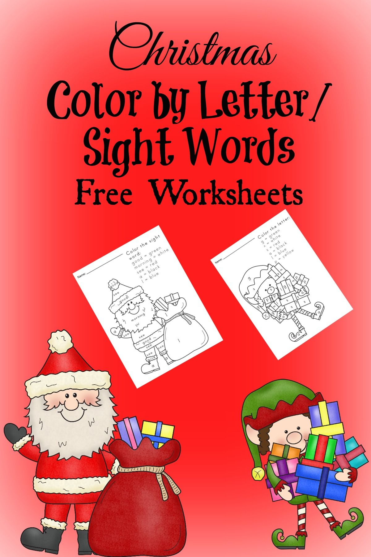 free christmas worksheets for kids color by letter sight word literacy christmas. Black Bedroom Furniture Sets. Home Design Ideas