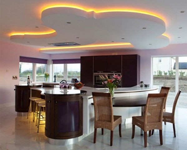 image kitchen modern design - USE of LED in Ceiling. (not the pattern or colour!)