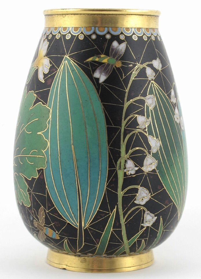 Elkington & Co cloisonne enamel vase dated 1876, possibly manufactured for the 1876 Centennial Exhibition Philadelphia, decorated with butterflies amongst lily of the valley and wild flowers on a black ground
