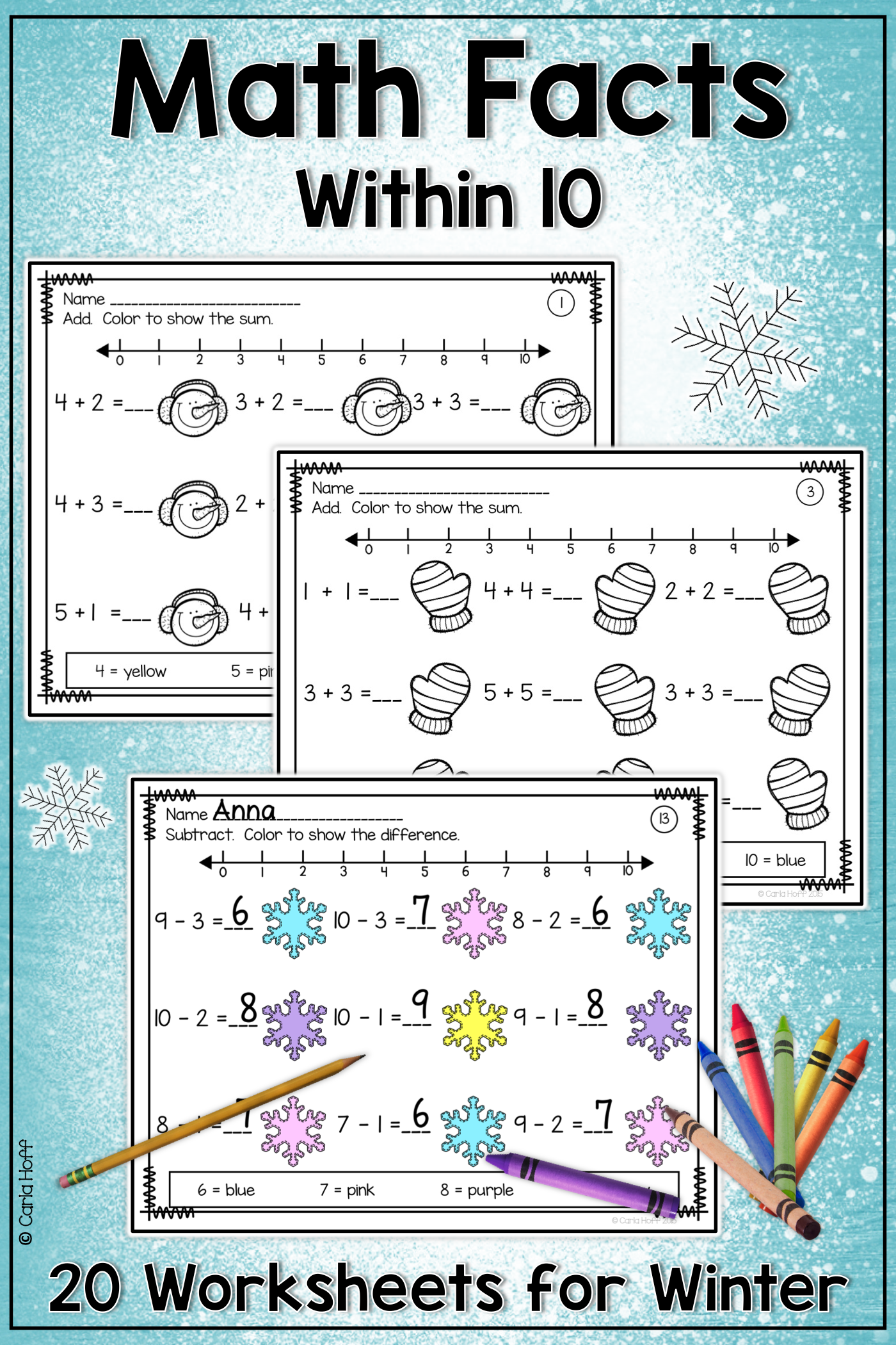Winter Addition Amp Subtraction Within 10 Worksheets With