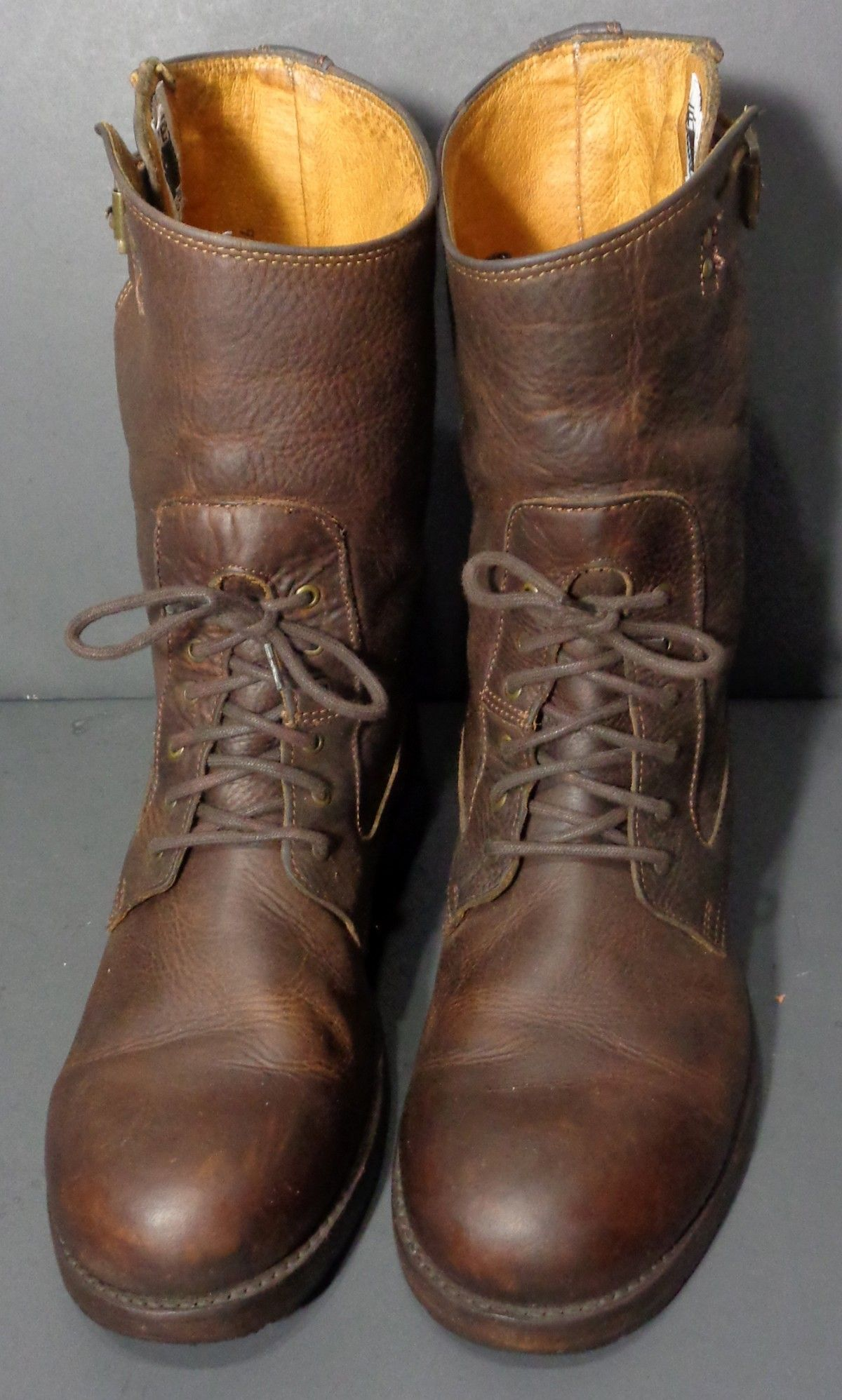 FRYE 87227 ENGINEER LACE UP BROWN LEATHER MOTORCYCLE BOOTS MEN'S ...