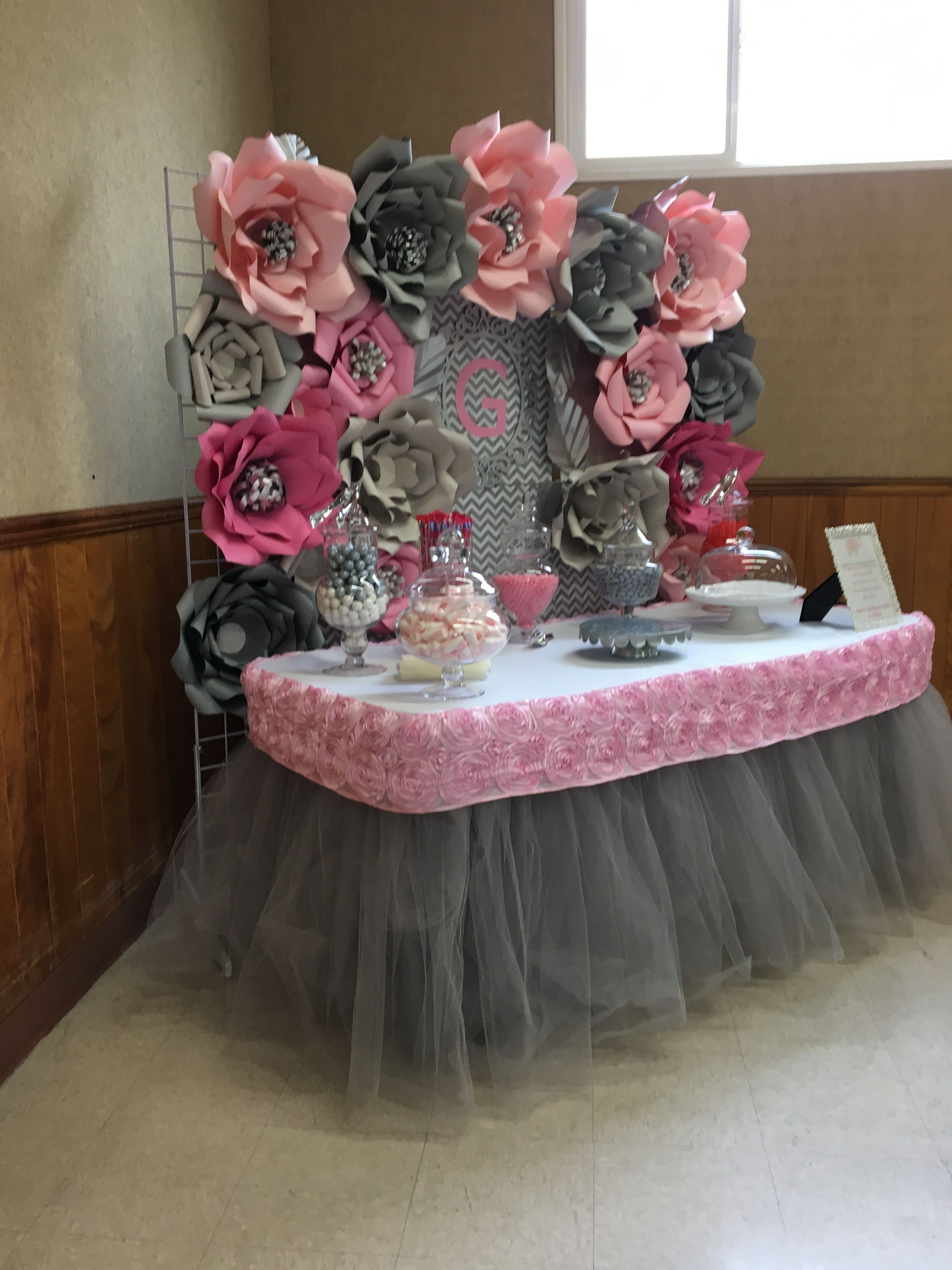 Pink And Grey Candy Table Paper Flower Paper Flowers