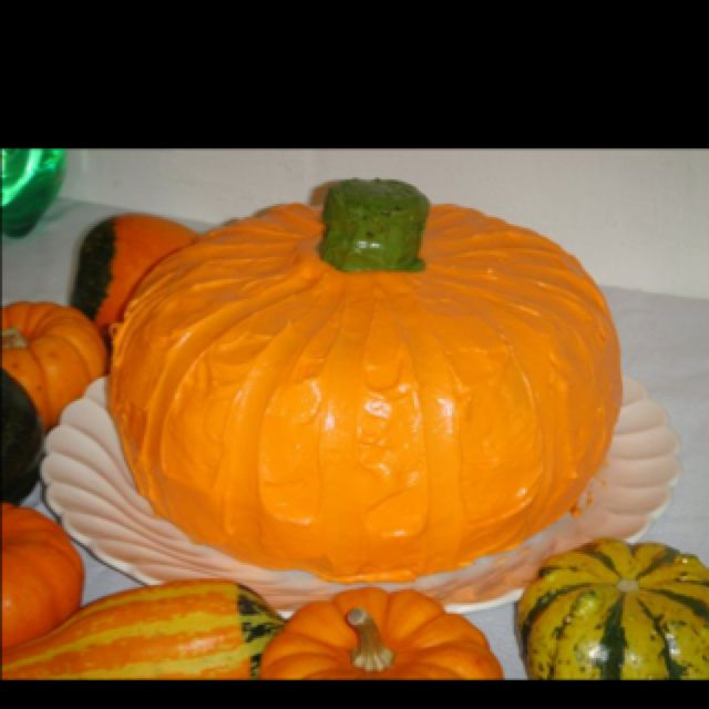 This cake is two bunt pans put together with a cream cheese frosting . Simple yet has a real wow factor.