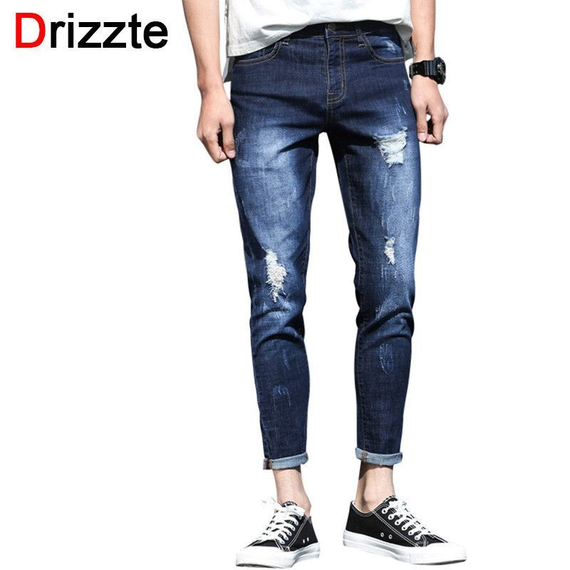 11bd1ee81af5db Summer Ankle Jeans Men Ripped Distress Stretch Denim Slim Fit Jeans for Men  Soft Comfort Holes