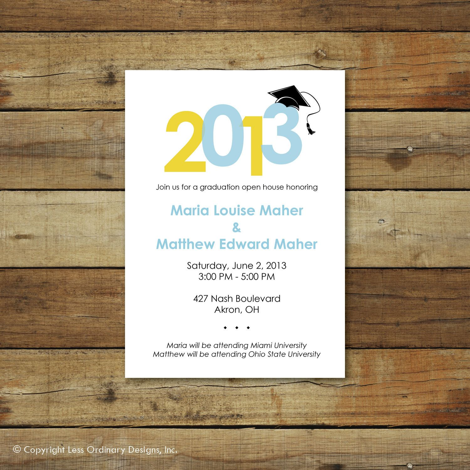Graduation party invitation or open house invitation custom