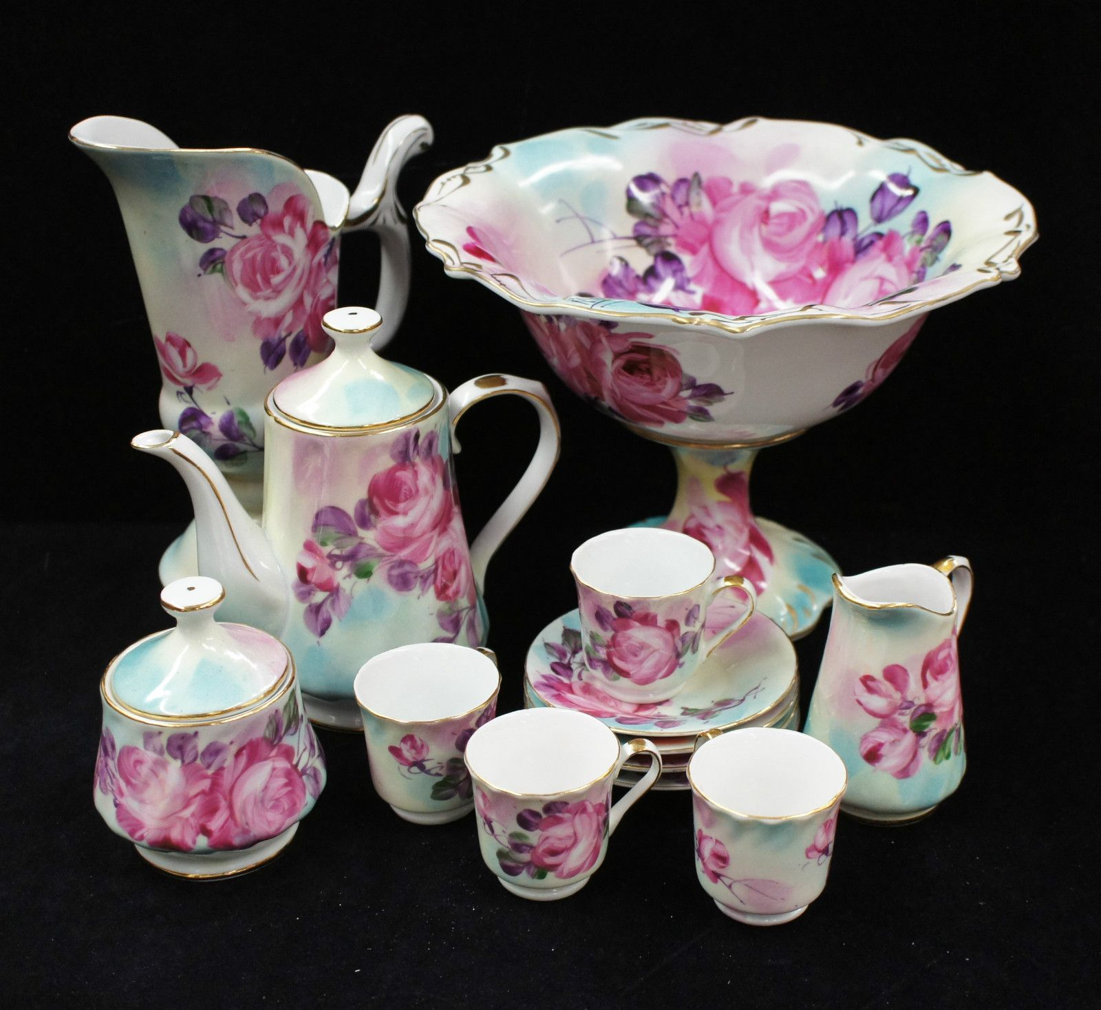 Limoges Porcelain (France) U2014 Miniature Tea Set Bow. Purple Pink Rose  Pattern ( Idea