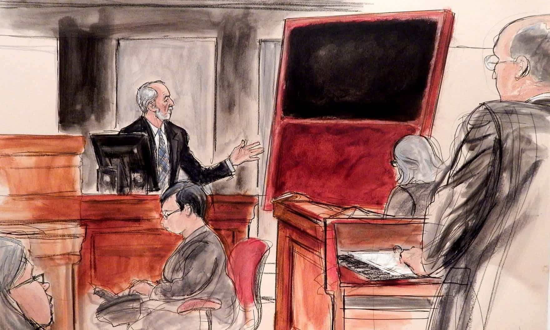A fake Mark Rothko painting is shown to the court during a trial in New York in 2016
