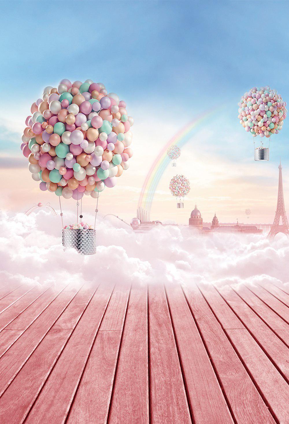 HUAYI Hot Air Balloon Backdrop Photography Backdrops Vinyl
