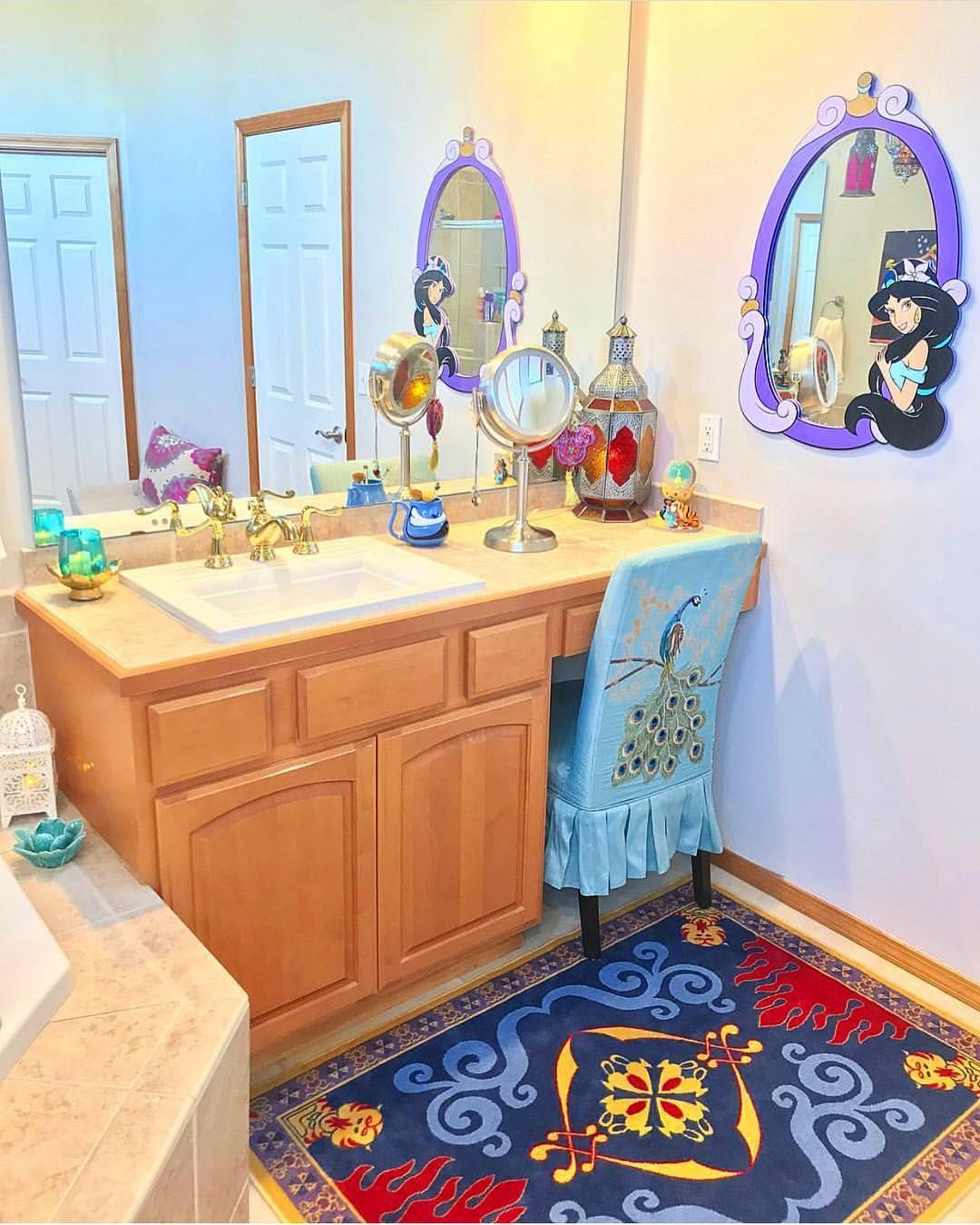 Disney At Home On Instagram Our Friend Kelseymichelle85 Has Such A Magical Aladdin Themed Bathroom We Love Al Disney Bathroom Bathroom Kids Bathroom Themes