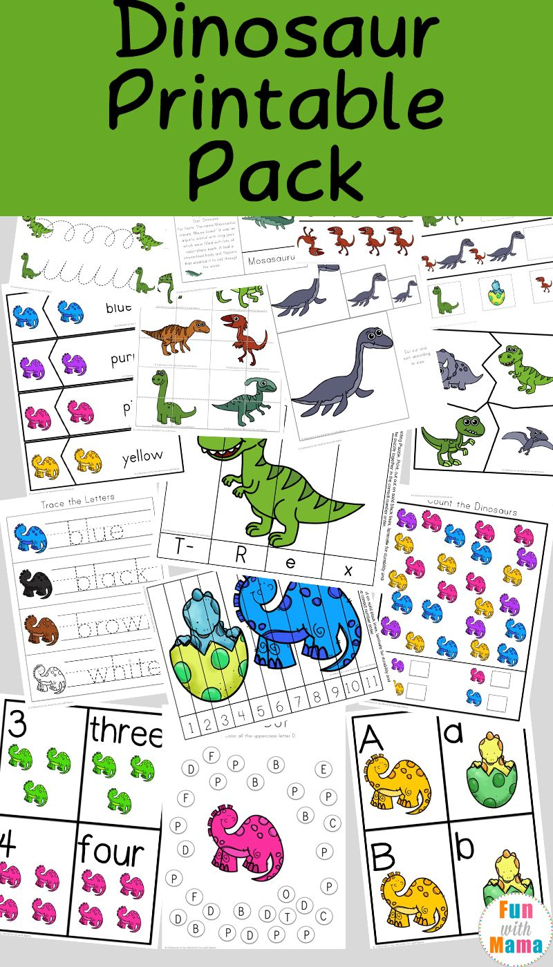 dinosaur preschool printable pack dinosaur theme activities for kids dinosaurs preschool. Black Bedroom Furniture Sets. Home Design Ideas