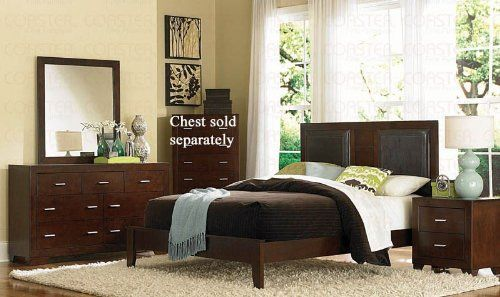 4pc King Size Bedroom Set in Cherry Finish #Bedroom Sets #Furniture