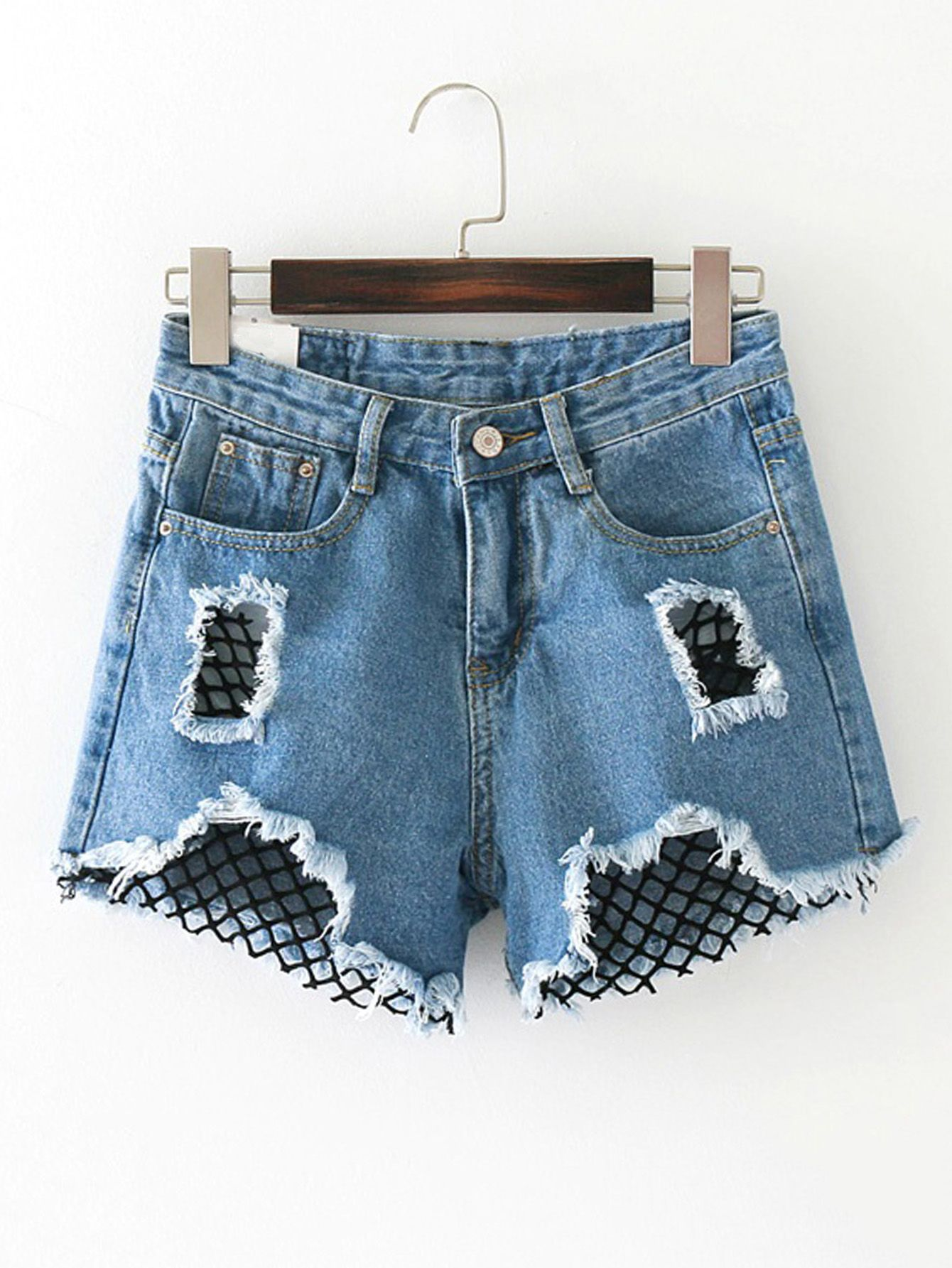 9ef5679dde Shop Contrast Mesh Ripped Detail Denim Shorts online. SheIn offers Contrast  Mesh Ripped Detail Denim Shorts & more to fit your fashionable needs.
