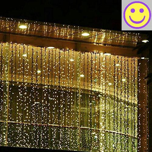 Minger 300leds curtain lights fairy string light for christmas holiday wedding party window garden home indoor outdoor decoration