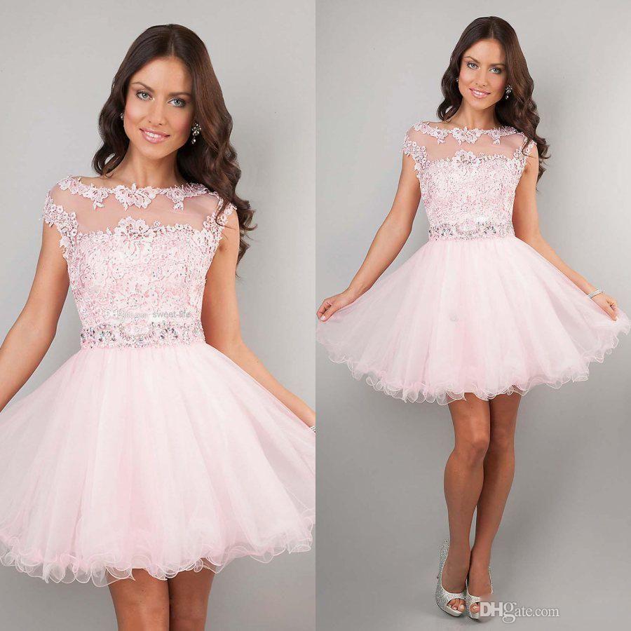 2016 Short Prom Dresses A Line Organza Cap Sleeves Sequins ...