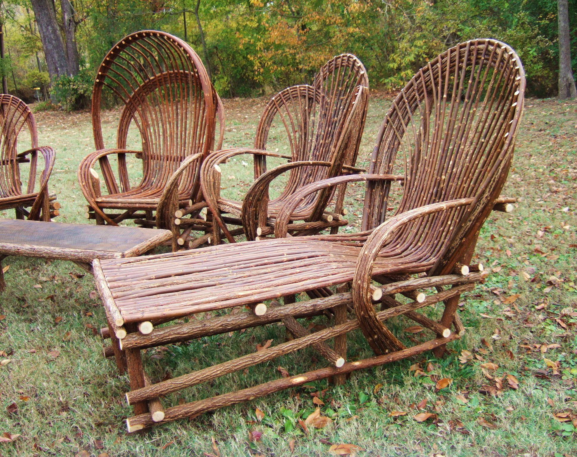 Chairs And Chaise Loungers Made With Willow Trees DIY - Woodland patio furniture