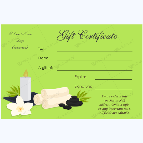 Spa gift card spacertificate spa spacard spa and saloon gift gift certificate word layouts spa template printable salon best free home design idea inspiration yelopaper Image collections
