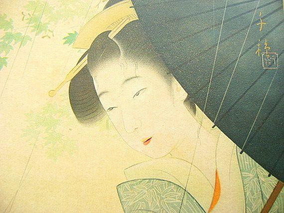 Vintage Japanese Print Geisha Woman Magazine by VintageFromJapan, $25.00