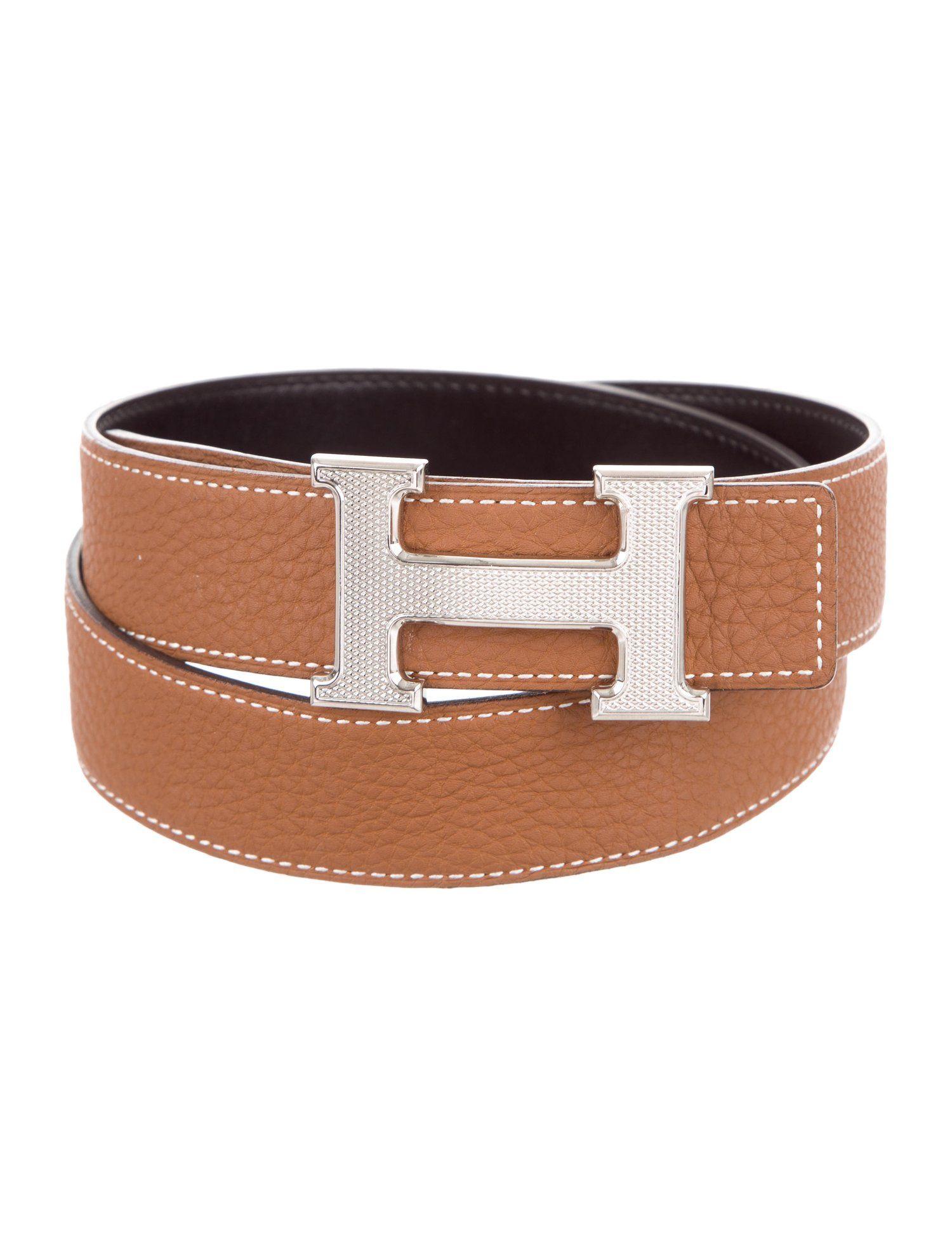 Vintage Hermes Constance Brown Reversible H Belt 24 mm-Size 75