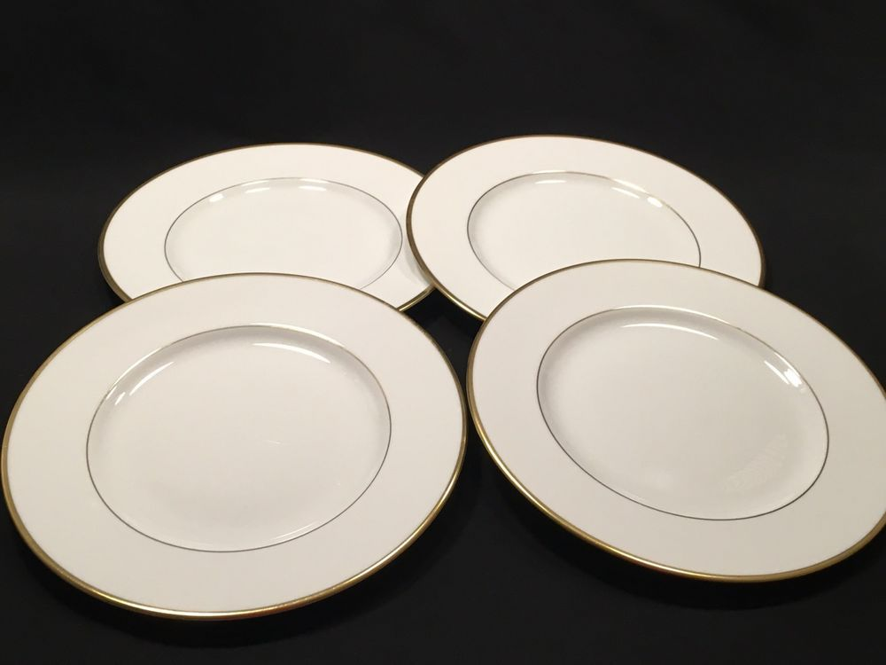 Wedgwood 4 Dinner Plates Bone China California W4377 England White Gold Trim #Wedgwood : wedgwood dinnerware patterns - pezcame.com