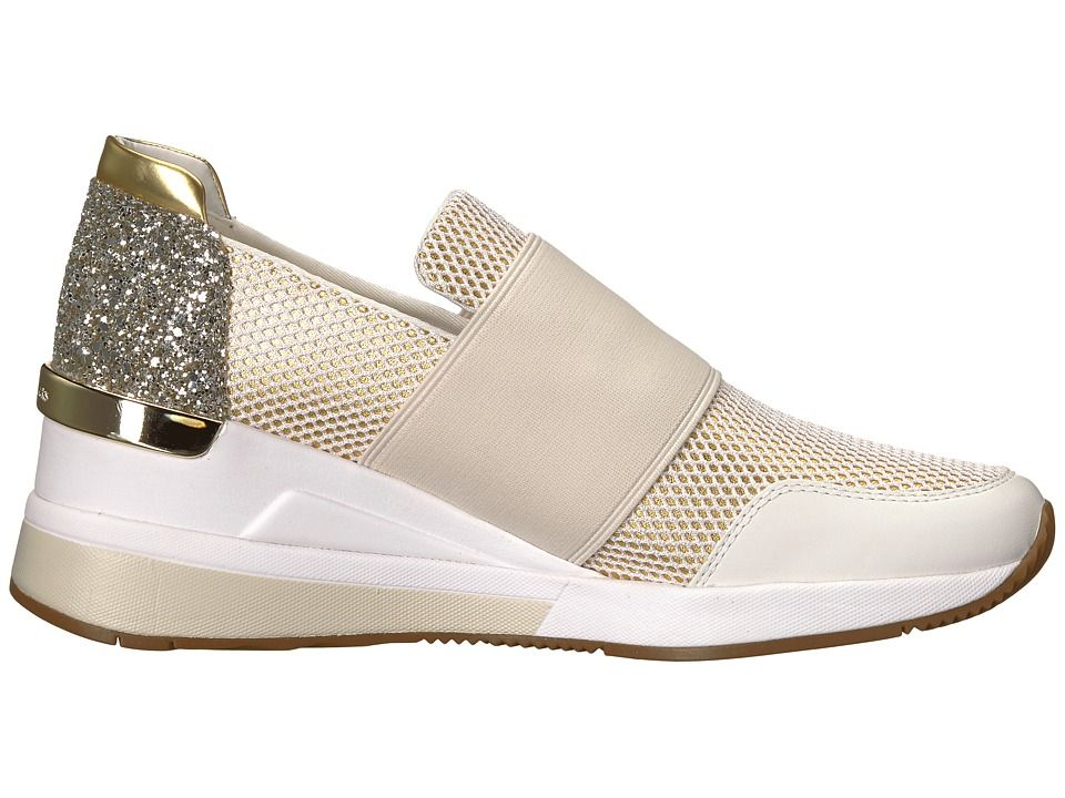 788c7d029014 MICHAEL Michael Kors Felix Trainer Women's Shoes Optic/Gold Metallic  Nappa/Net Mesh/Chunky Glitter