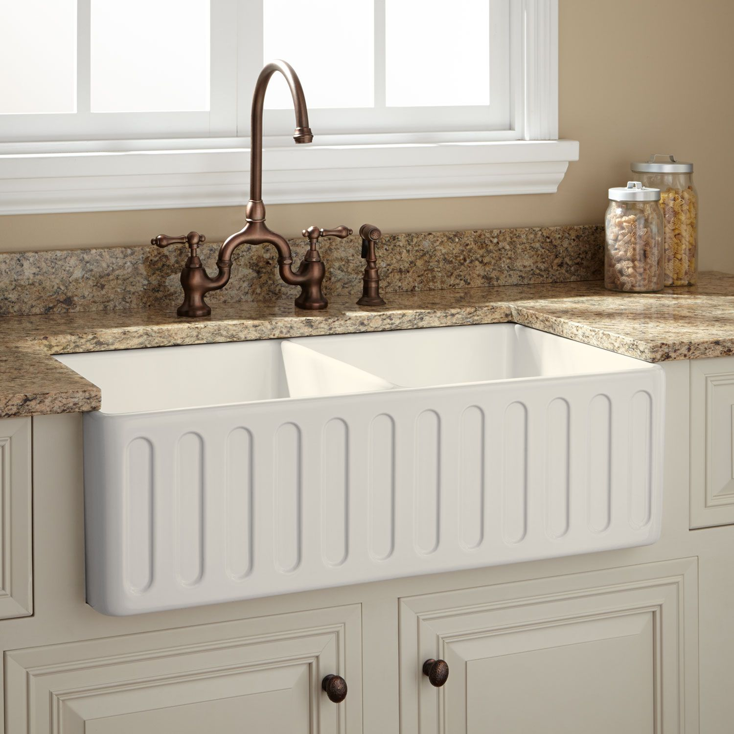 33 Northing Double Bowl Fireclay Farmhouse Sink In Biscuit