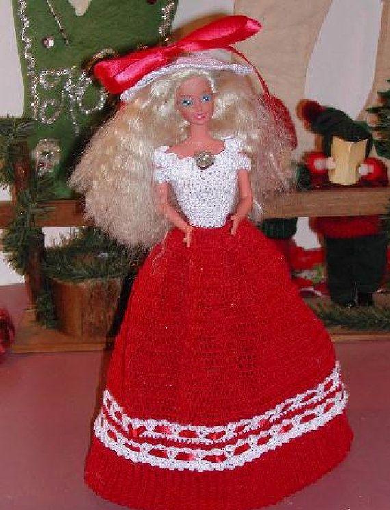 Häkeln Sie Mode Puppe Barbie Pattern - #296 CHRISTMAS TEA GOWN ...