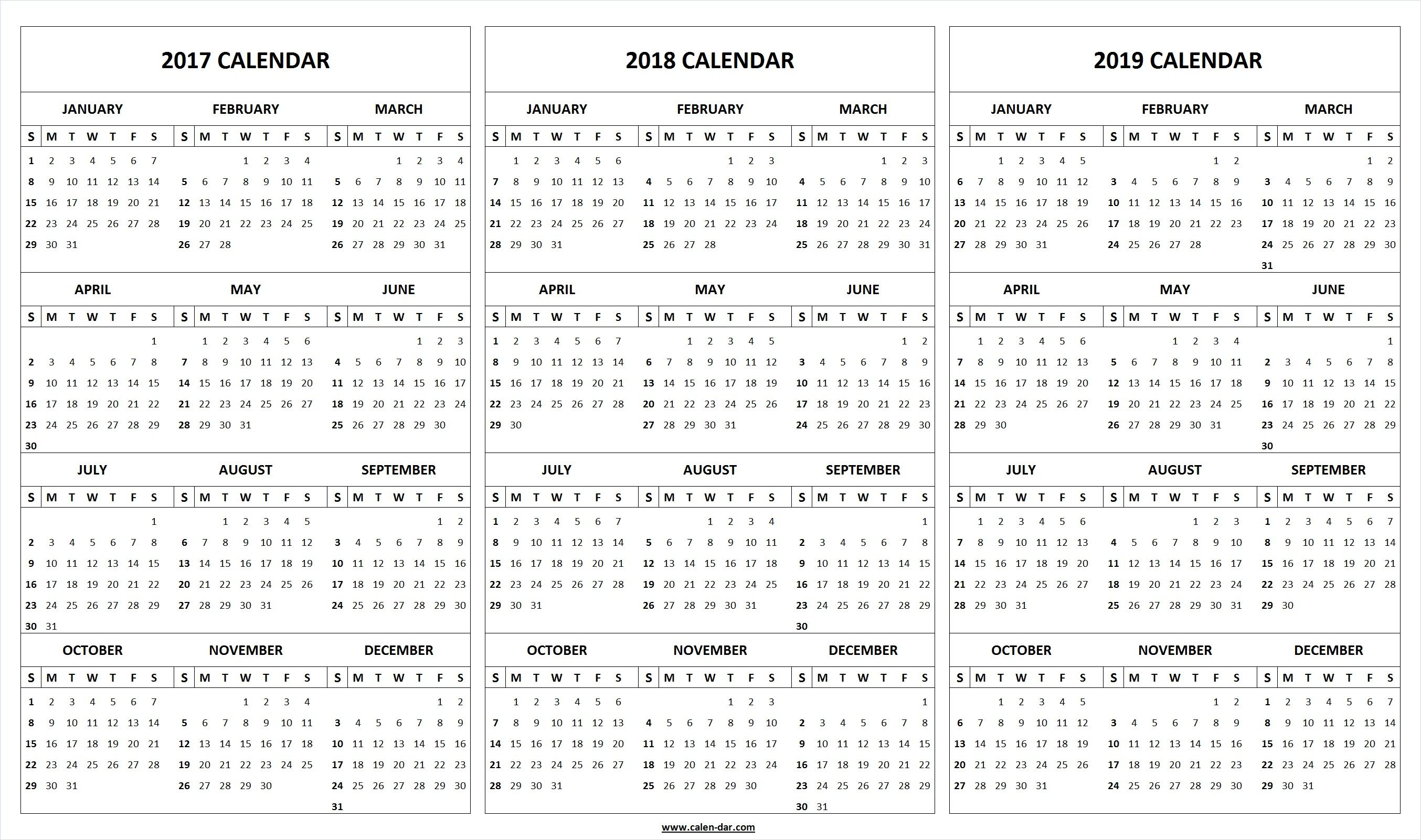 Get Free Blank Printable 2017 2018 2019 Calendar Template These