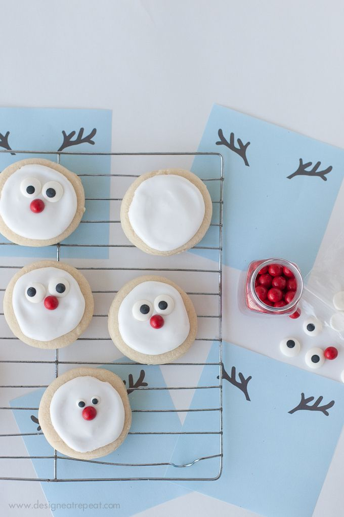 reindeer sugar cookie printable a christmas cookie decorating idea by design eat repeat