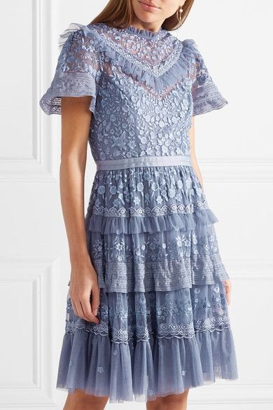 Iris Tiered Lace-trimmed Embroidered Tulle Mini Dress - Lavender Needle & Thread Amazing Price Sale Online rVdX09wLB