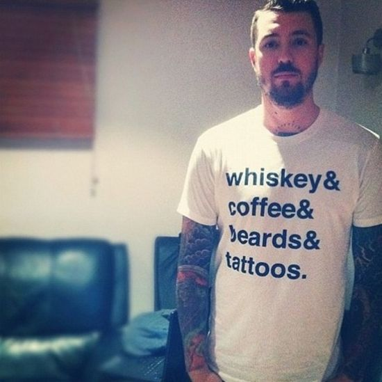 Whiskey & Coffee & Beard & Tattoos.... I may have already pinned this, but it's worth pinning again.