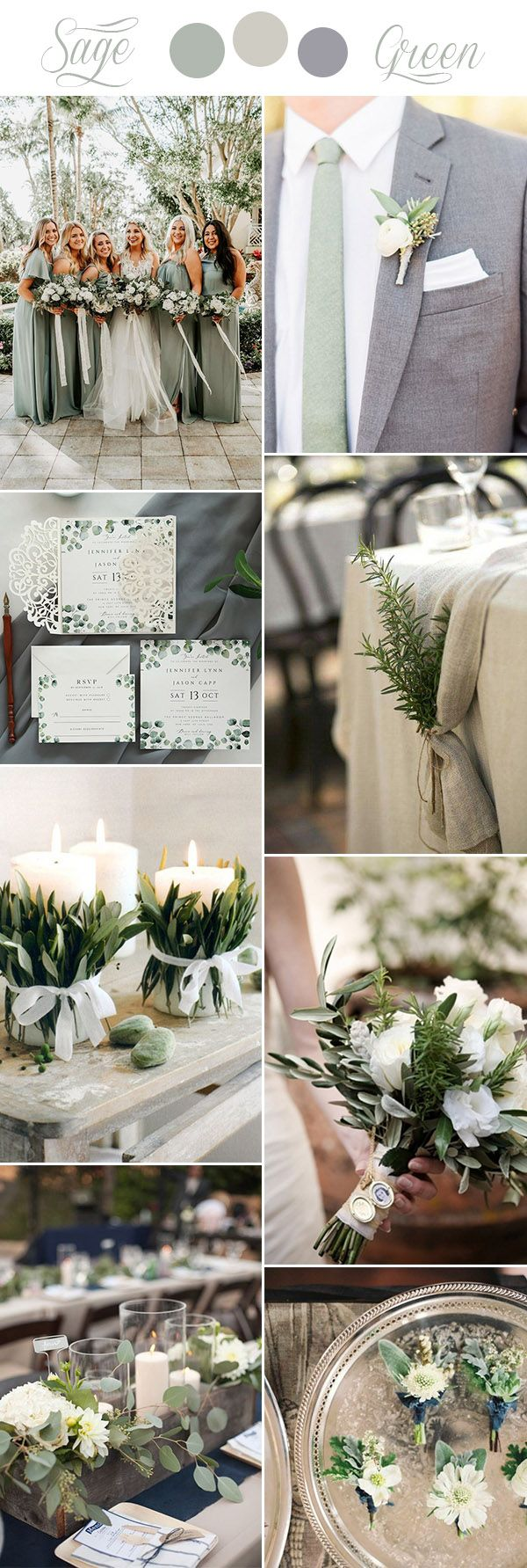 sage green, beige and grey rustic chic wedding colors #weddingcolors explore Pinterest