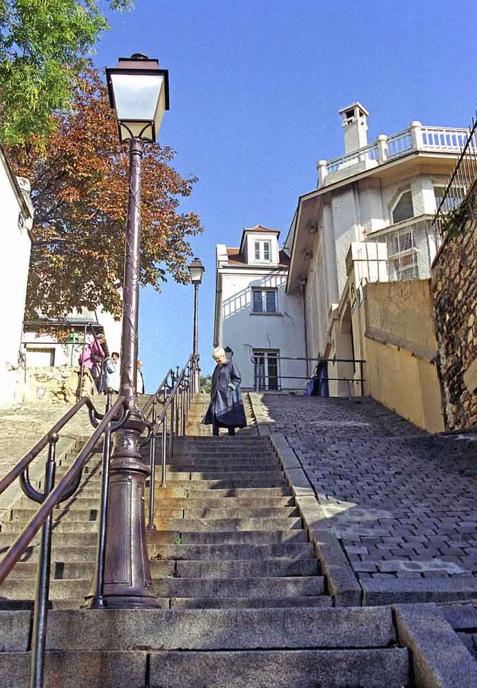 Cascade of steps in the artists quarter of Montmartre
