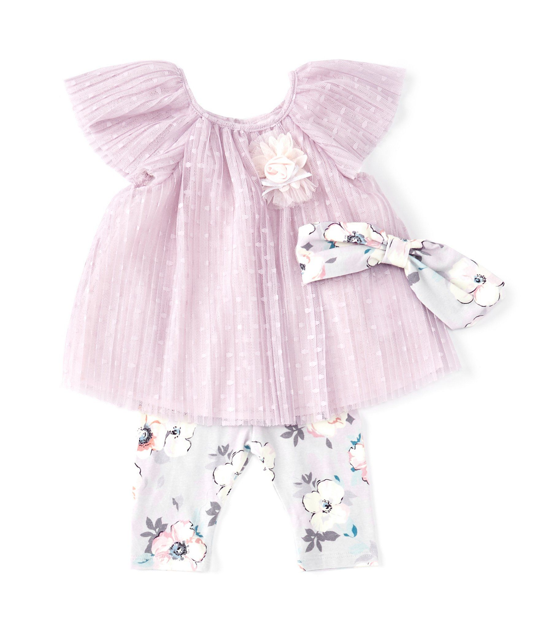 Photo of Bonnie Jean Baby Girls Newborn-24 Months Flutter-Sleeve Mesh Dress & Floral Legging Set | Dillard's