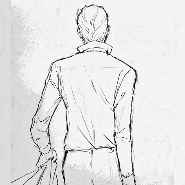 背中に表情ある人いいですな Illustration Drawing イラスト 後ろ姿