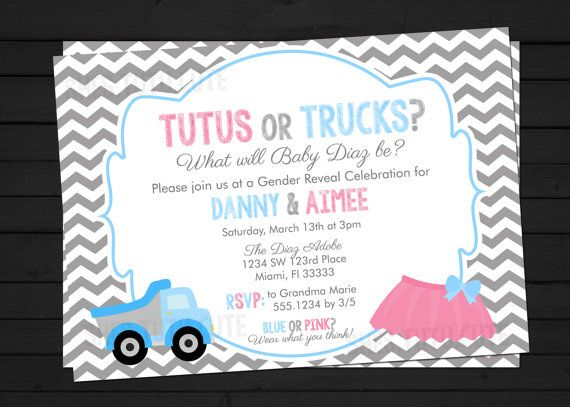 Tutus Or Trucks Style Gender Reveal Invitation Digital