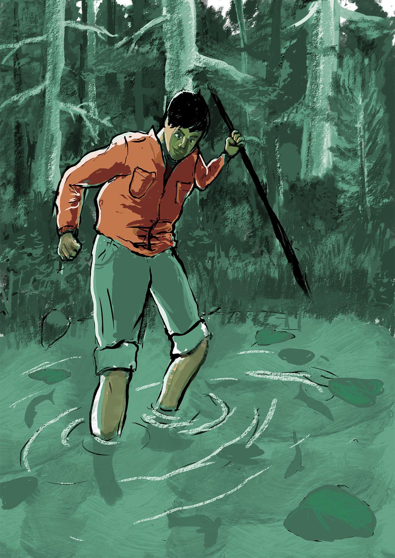 By Daniel Pagan. Illustration for Gary Paulsen's 'The Hatchet ...